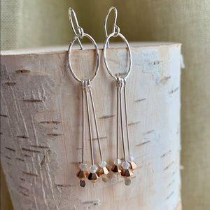 Jewelry - Swarovski Rose Gold Crystal & Sterling Earrings